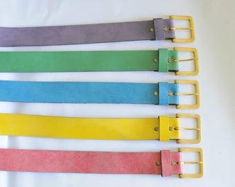 Pick a Belt Vintage Belts Bright Colors Leather Simple Funky 90s Block Ladies Womens