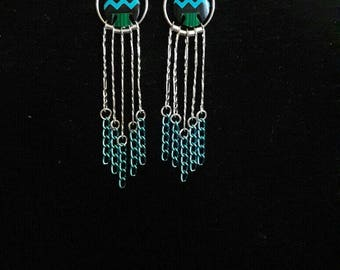 Native American Style inlaid Thunderbird, Sterling Silver and Turquoise Long Earrings