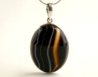 Agate Pendant Sterling Silver Pendant With Natural Agate Jewelry Agate Necklace