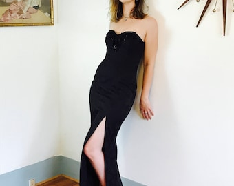 Vintage 80s Long Black Party Dress ZUM ZUM Damask Lace Strapless Slinky Super High Slit Tight Fitted Sexy Fancy Formal 1980s Maxi Dress