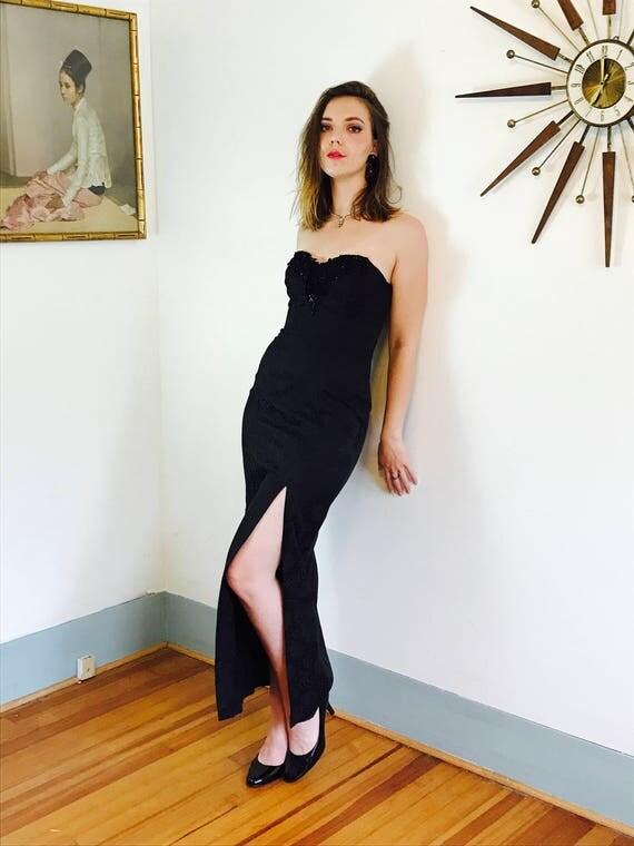 Vintage 80s Long Black Strapless Party Dress by ZUM ZUM