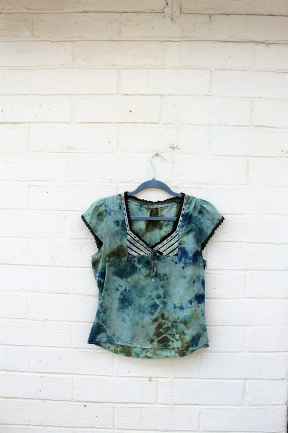 Silk Tie Dye Shirt/Tie Dye Silk Blouse/Upcycled Clothing/Romantic Hippie Chic/ Casual conservative/Green blouse/Burning Man Clothing Silk