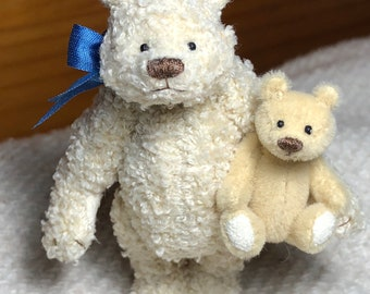 Miniature Handsewn 3in. Terry cloth Teddy Bear with 1-1/2in. Bear
