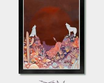 Wolf - Voice of One - Arizona, Coyote, Texas, New Mexico, Southwest, Southwestern, Cowboy, Tucson, Phoenix, Nevada, Cactus, Utah, Desert Art
