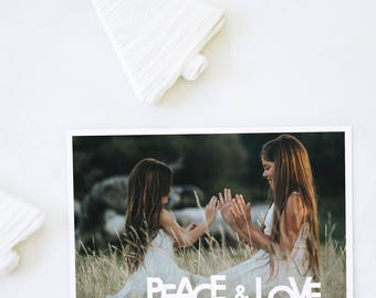 Custom Photo Holiday Cards, Christmas Cards, Elegant, Simple, Photography, Modern, Personalized, Holidays - Peace and Love Holiday Card