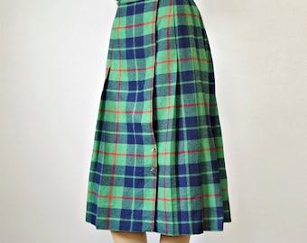 Vintage Kilt Tartan Plaid Green Blue Skirt Pleated Preppy School Girl Size Small Size 6