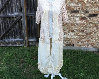 Altered Creme Sweater, Jacket , BoHo Style,Shabby Chic Romantic Tunic, 2X, Cottage Chic, Magnolia Pearl girl style, Satin Flowered Bottom