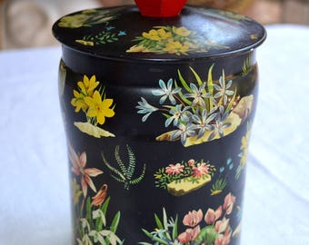 Vintage George Horner Biscuit Tin - English Garden Flowers - Lidded Tin - Chinoiserie Wooden Handle