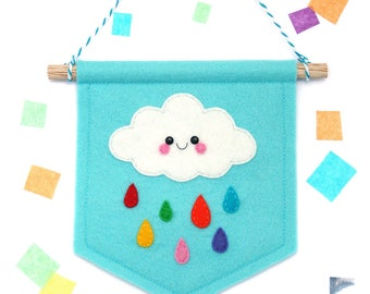 Rainbow Raincloud Blue Banner, Felt Flag, Weather Gift, Cute Bedroom Decor