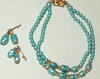 Doll Fresh Water Pearl Double Strand Necklace and Earrings