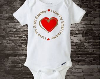 I Love My Great Grammy Onesie Bodysuit or T-shirt with Red Heart 07222014e