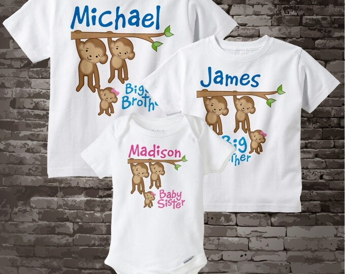 Sibling Monkey Shirt Set, Set of Three, Biggest Brother Shirt, Big Brother, and Baby Sister,  Personalized Shirt or Onesie 08032015f