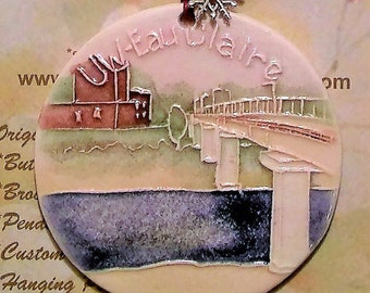 University of Wisconsin Eau Claire footbridge Handmade CHRISTMAS TREE ORNAMENT plus free gift wrap, original, 100% handmade