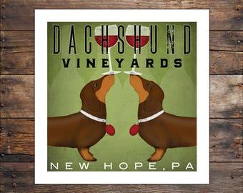 custom DOUBLE DACHSHUND Wiener Dog Wine Vineyard Winery  graphic art giclee print  SIGNED Hot Dog Beer Wine Coffee Tea Donut