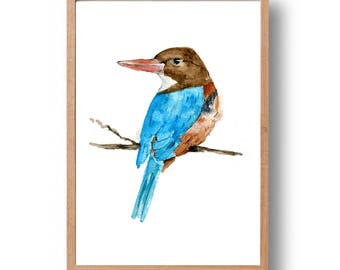 Kingfisher art print, Kingfisher watercolor print, bird art, Nature art, Birds painting, home and living, wild life, nursery, thejoyofcolor