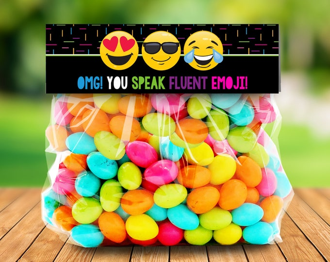 Emoji Party Treat Bag Topper - Emoji Birthday Favor Toppers, Emoji Party Favor, Self-Editing | DIY Editable Text INSTANT DOWNLOAD Printable
