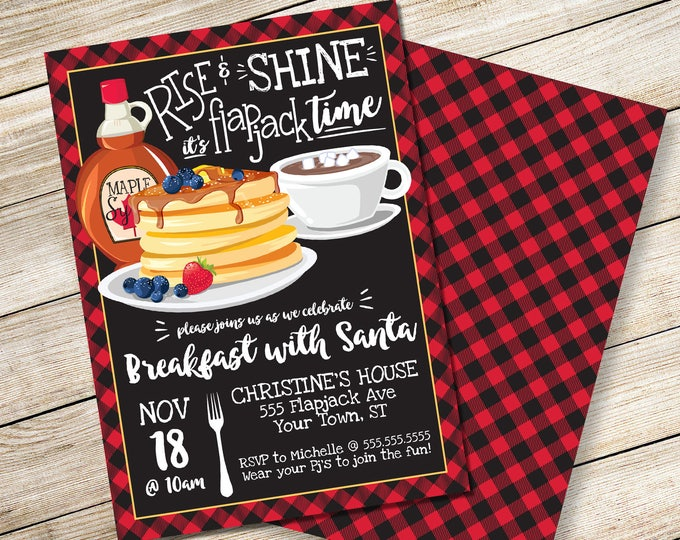 Rise & Shine It's Flapjack Time Invitation - Breakfast with Santa, Flapjack Party | DIY Editable Text INSTANT DOWNLOAD Printable