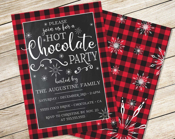Hot Chocolate Party Invitation - Hot Chocolate Bar, Buffalo Plaid Invitation, Hot Cocoa Bar Party | INSTANT Download PDF Printable