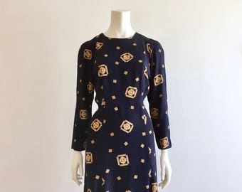 Navy Blue + Gold Long Sleeve Shift Dress Size L 10-12 - Fitted Button Back Trumpet Dress - Knee Length Fitted Shirt Dress -