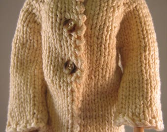 Hand Knit Doll Clothes Beige Cotton Coat fits 16 inch fashion doll such as Tonner Tyler