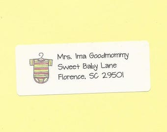 Baby Shower Return Address Labels - Baby Shower Invitation Labels, Baby Shower Thank Yous, Baby Announcement Envelope Labels, Baby Stickers
