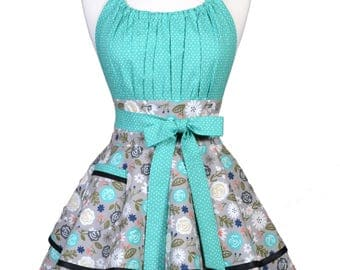 Flirty Chic Retro Apron - Heart and Soul Gray and Teal Floral with Black Trim Hostess Pinup Apron with Personalized Embroidery Option (DP)