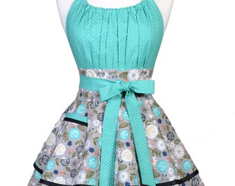 Flirty Chic Pinup Apron - Heart and Soul Gray Teal Floral - Womens Sexy Cute Retro Kitchen Apron with Pocket