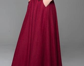 Wine red skirt, wool skirt, classic skirt, winter skirt, warm skirt, long skirt, plus size skirt, elastic waist skirt, pockets skirt (1435)
