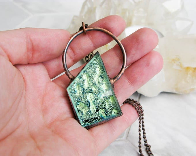 Electroformed Copper Necklace Goddess necklace metallic green Fused Glass Pendant Modern Jewelry Large Glass Pendant Statement necklace OOAK