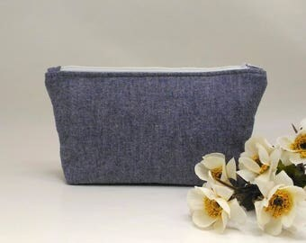 Makeup Organizer / Small Makeup Case / Makeup Zipper Bag / Denim Bag / Travel Cosmetic Bag / Travel Organizer / Zipper Pouch / Zipper Bag