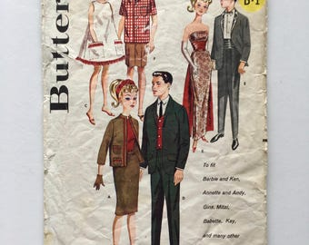 "Vintage Sewing Pattern 50's Partially Uncut, Butterick 2519, Boy, Girl, Doll Wardrobe (11 1/2"" and 12"""
