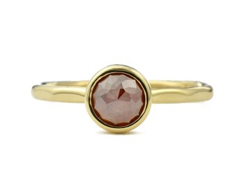 Brown Diamond Ring, Rose Cut Diamond Ring, 14K Gold Brown Diamond Engagement Ring, Alternative Bridal