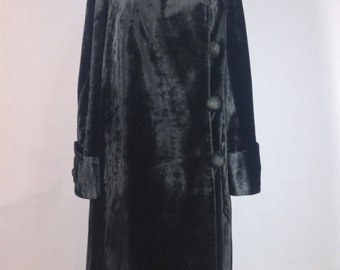 Antique 1910's - 1920's Edwardian Black Velveteen Faux Fur Opera Cocoon Coat