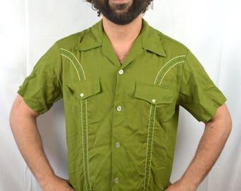 Vintage 50s 1950s Linen Blend Button Up Mens Shirt - Don Robles