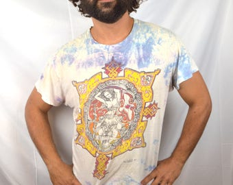 RARE Vintage Grateful Dead Tie Dye Tshirt - Signed by Artist Mikio 1980