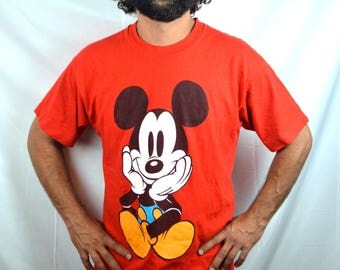 Vintage 80s 90s Mickey Mouse Red Classic Tee Tshirt Top