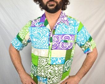 Vintage 1960s Malihini Textured Hawaiian Button Up Shirt