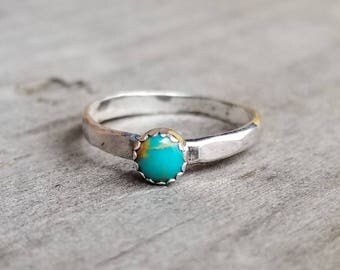 Turquoise Stacking Ring Size 3 Midi Ring Knuckle Bohemian Stackable Sterling Ring