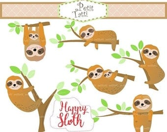 ON SALE Sloth Clip Art // Cute Sloth Clip Art, Happy Sloth Clip Art, sloth on the tree Clipart,slow animal ,Clip art,scrapbooking,printable