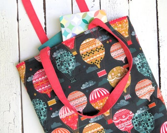 Tote Bag  - Hot Air Balloon - spoonflower canvas market bag library bag shopping bag book bag purse tote teacher bucket tote READY TO SHIP