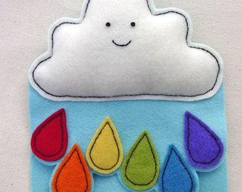 Rainbow Pincushion - Rainbow Needlebook - Cloud Rainbow Decor - Cloud Ornament - Felt Art - OOAK - ROYGBIV - Original Design
