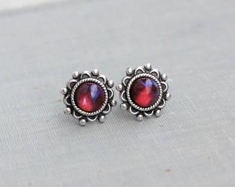 Dragons Breath Mexican Fire Opal Stud Earrings