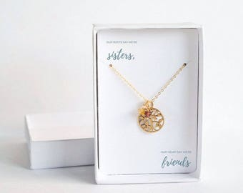 Gold Sisters Necklace - Birthstone Family Jewelry - Family Tree Necklace for Sister - Sister Birthday Gift - Sister Birthstone Necklace