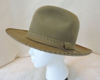 Vintage Imperial Stetson Fedora Hat Tan/Beige Suede Finish