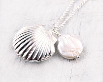 Shell Locket Necklace Silver Seashell Necklace Seashell Ocean Nautical Pendant Pearl Summer Wedding Beach Mermaid