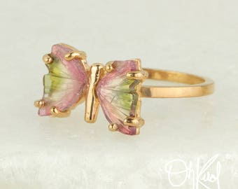Green & Pink Watermelon Tourmaline Butterfly Ring - Statement Ring - Natural Watermelon Tourmaline