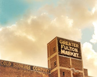 Fulton Market, Chicago Photograph, West Loop, Urban Wall Art Print - rose gold, light brown, Photography Chicago, Industrial Building Art