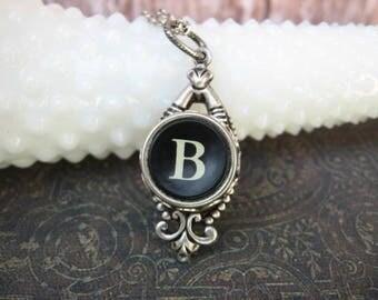 Typewriter Key Jewelry - Typewriter Necklace - Letter B  - Typewriter Charm - Vintage Key - Ornate Drop