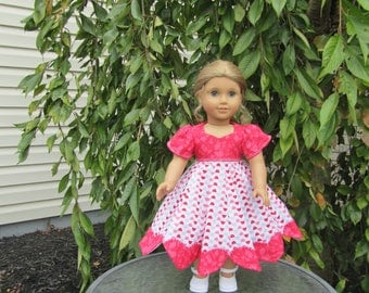 12 panel skirt Heart Dress with shoes to fit dolls like American Girl