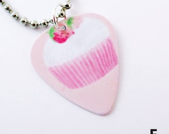 7 Designs Guitar Pick Necklace Cupcakes  Your Choice